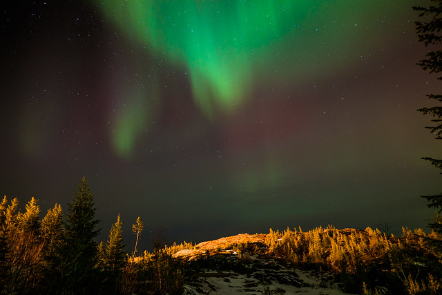 Aurora Borealis lighting up the landscape