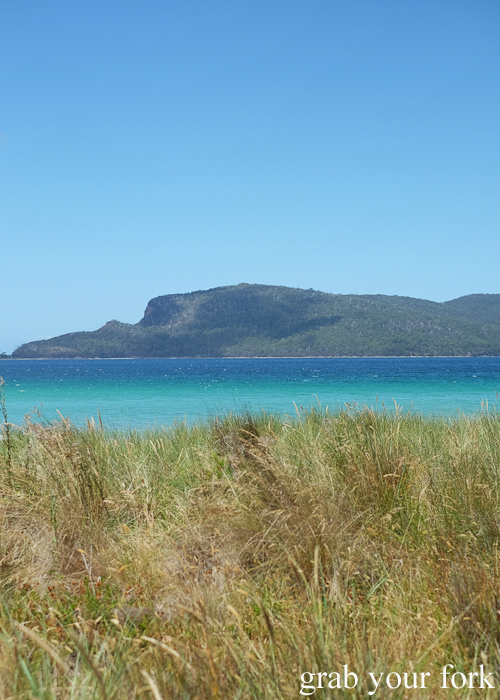 Blue waters on Bruny Island in Tasmania