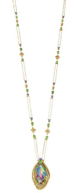 A black opal, demantoid and sapphire necklace, attributed to Louis Comfort Tiffany for Tiffany & Co.,  6