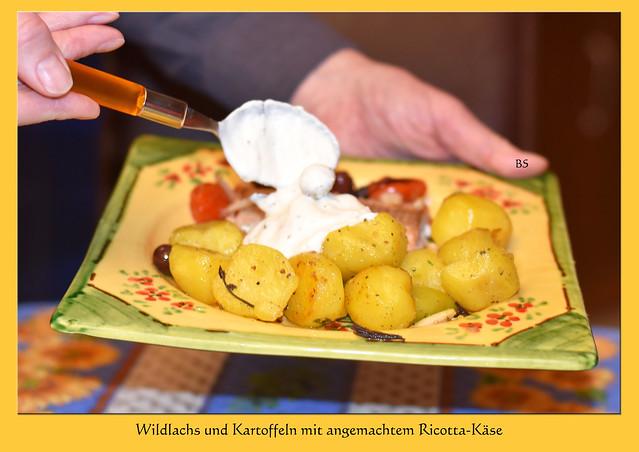 """Vincenzo Campi (1530 - 1591) """"Die Ricotta-Esser"""" ... Ricotta-Käse, angemacht mit Olivenöl, Knoblauch, Kräutern ... zu Wildlachs und Kartoffeln ... Foto(s): Brigitte Stolle, März 2017"""