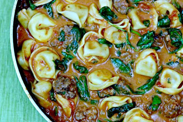 venison sausage tortellini close
