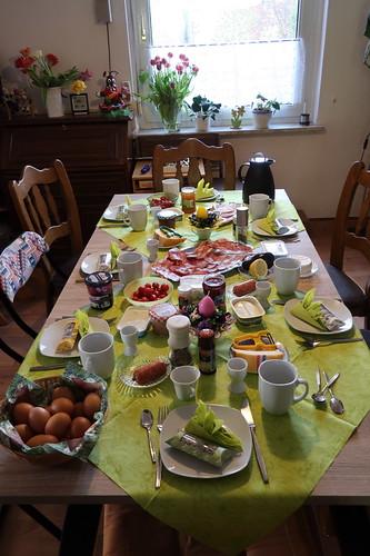 Frühstückstisch am Ostermontag