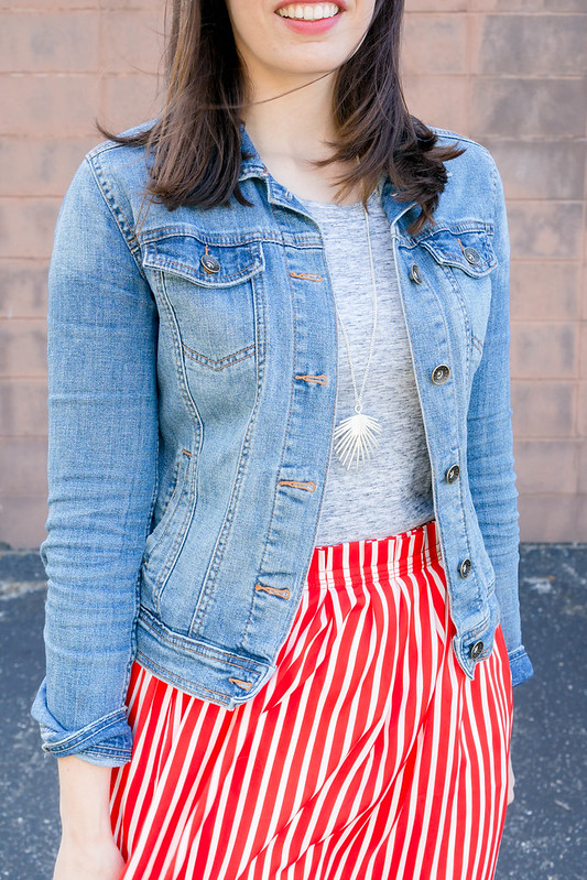 gray tee + denim jacket + red white striped J.Crew skirt + gray J.Crew crossbody purse; casual spring summer outfit | Style On Target blog