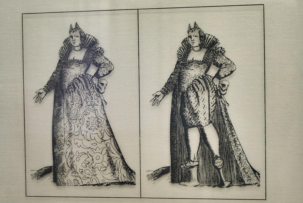 Images des talons-aiguilles-échasses de 50-70 cm au musée médiéval de Bologne.
