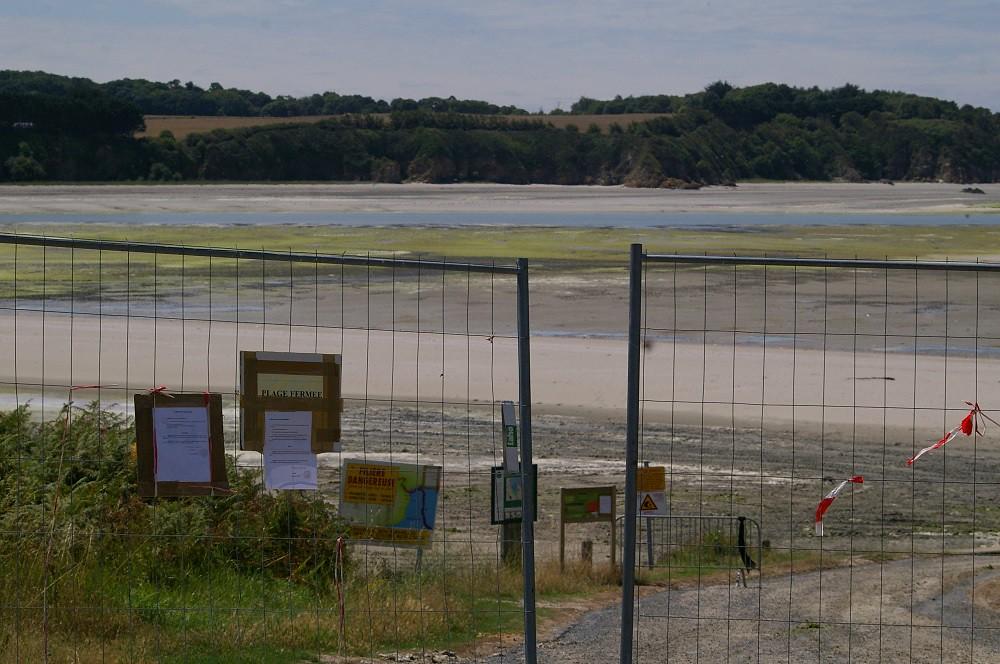plages bretonnes fermé au public, pollution, danger sanitaire, barrière, plage