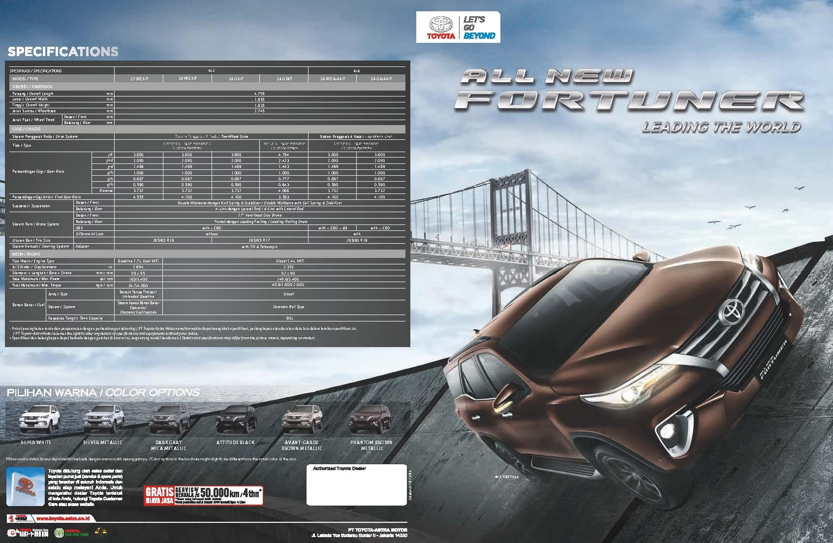 Brosur Mobil Toyota Fortuner VRZ - SRZ Jakarta