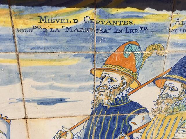 Azulejos en el Palacio de Santa Cruz de Viso del Marqués en que aparece Miguel de Cervantes como soldado de Lepanto