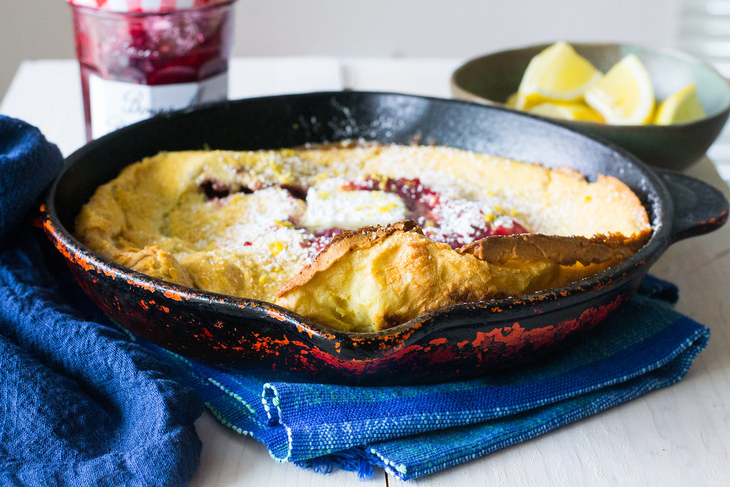 Raspberry Lemon Dutch Baby Pancake #sayitwithhomemade