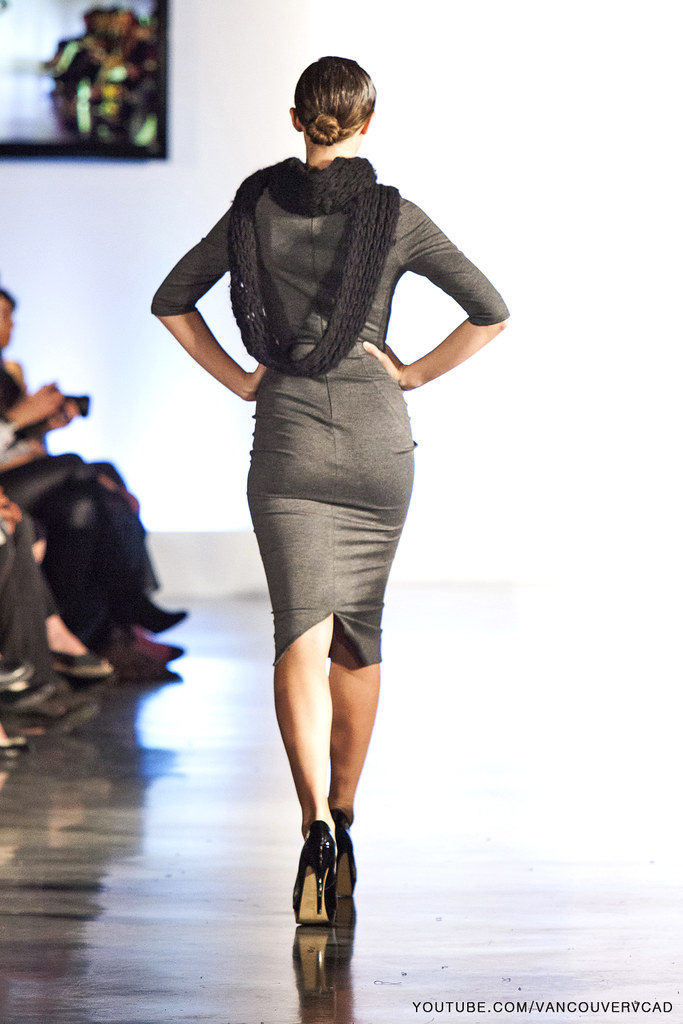 2199a3188ab ... Eco Fashion Week Day 3 Evan Ducharme Fashion Collection Belladonna -  grey knee high dress with