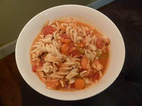 Rotisserie Chicken Soup with Pasta and Tomatoes
