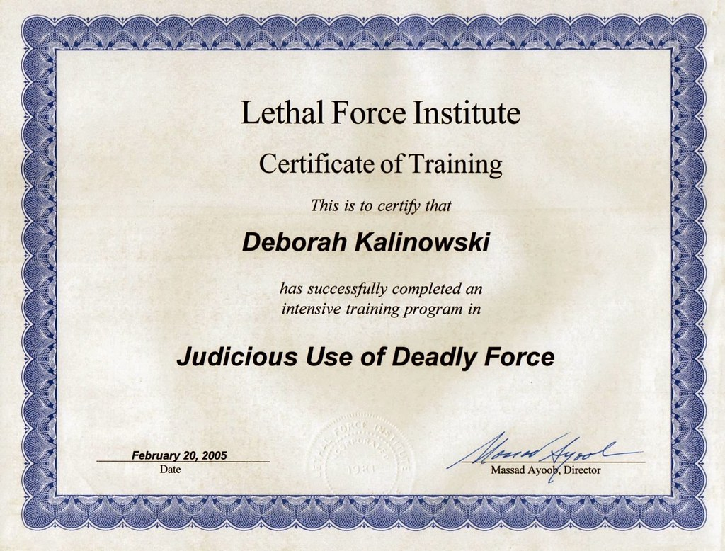 Judicious use of deadly force certificate of training flickr judicious use of deadly force certificate of training by revdebbie xflitez Choice Image