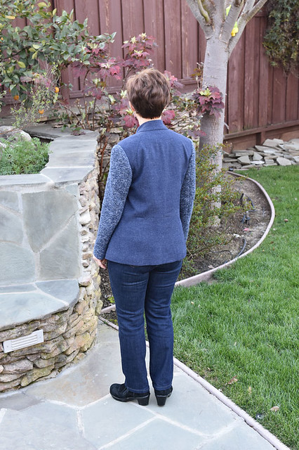blue wool jacket  back view on me