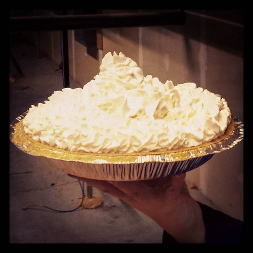 Pi Day preview: The pie, ready for dispatch! #piday #whippedcream