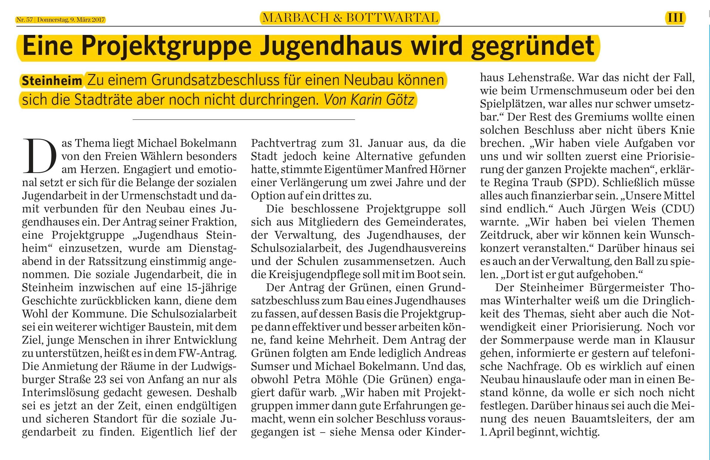 Marbacher Zeitung 9.3.2017
