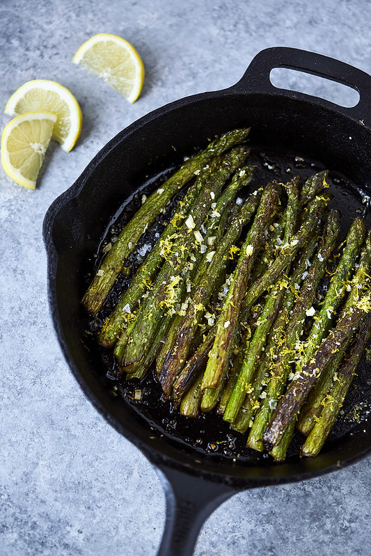 Cast Iron Charred Lemon Garlic Asparagus