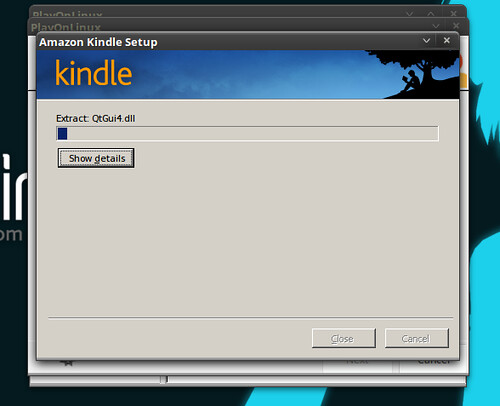 the installation of kindle starts