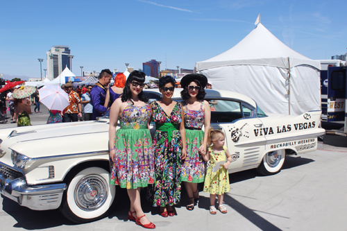 Viva Las Vegas Rockabilly Weekend 20 Trashy Diva Annette Dress in Carnival Print Obi Long Dress in Retro Floral Rockabilly Baby Posey Dress in Berry Chantilly