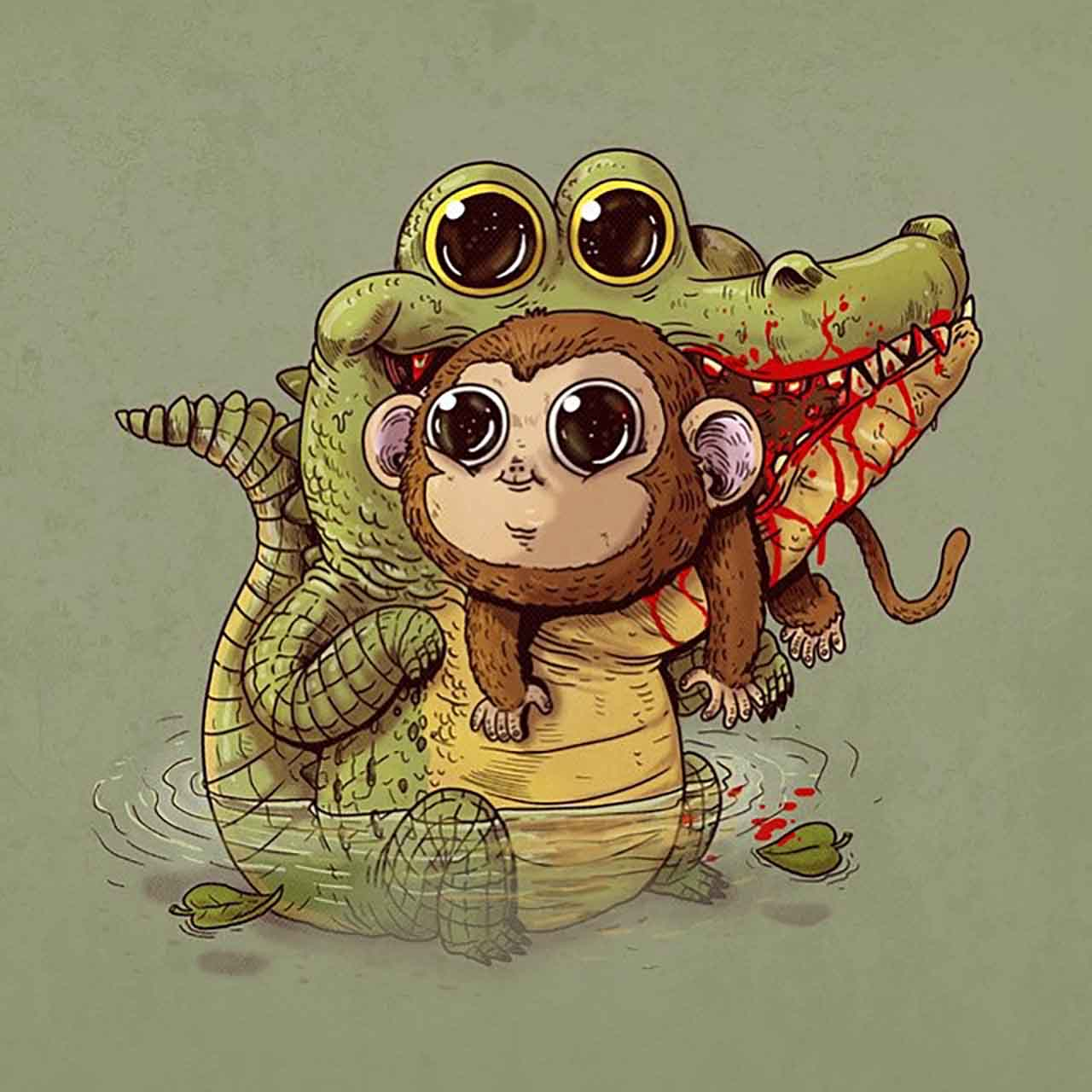 "Artist Creates Extremely Adorable ""Predator & Prey"" Illustrations #15: Crocodile & Monkey"