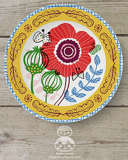 FLORA_CHANG_YellowBorderFloralPlate_1A_WEEK2 | by Flora Chang | Happy Doodle Land