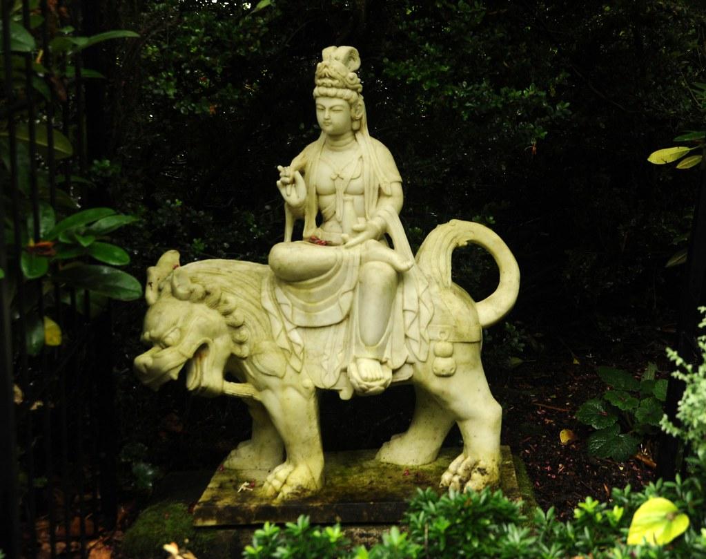 Bodhisattva Manjushri Riding A Lion Tall Headdress Robes