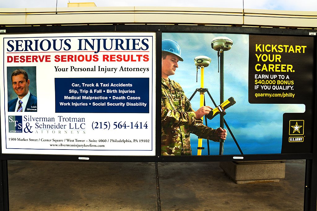 Ambulance chaser and Army ads--Philadelphia Airport