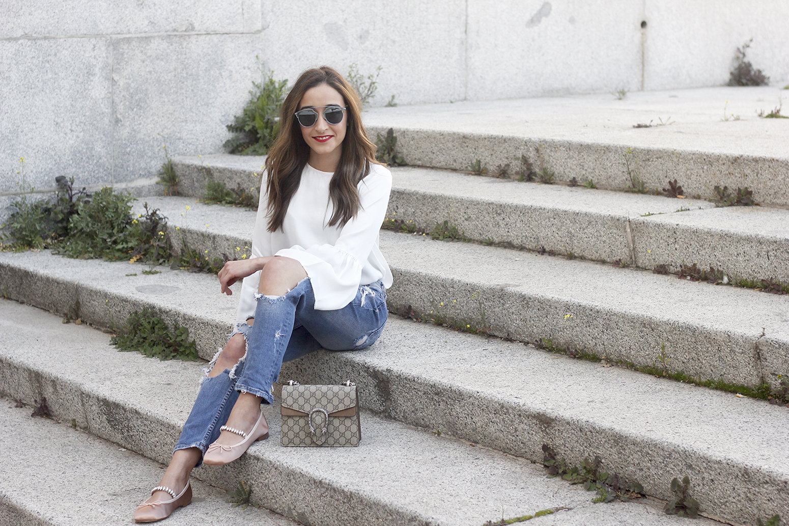 ripped keans gucci bag Jewel ballerinas uterqüe white blouse outfit style fashion12