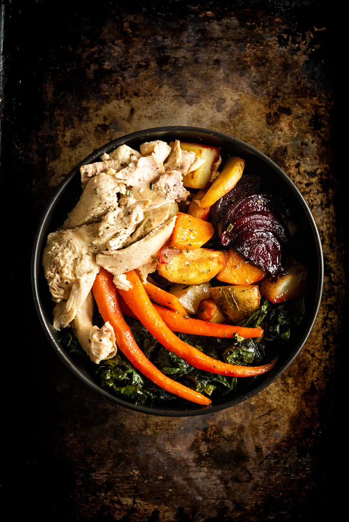 Roasted Roots and Roasted Chicken Power Bowl with Maple Dipping Aioli