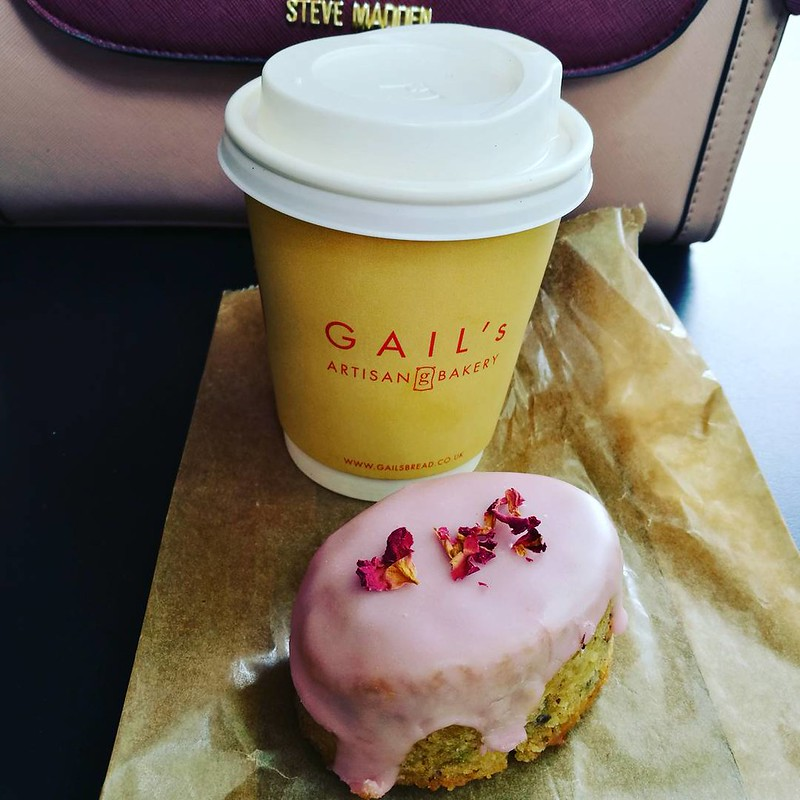 This is a picture of coffee and cake from Gail's bakery London