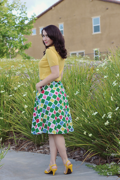 Emily and Fin  Nina Cardigan Mustard Pippa Skirt in Square Garden