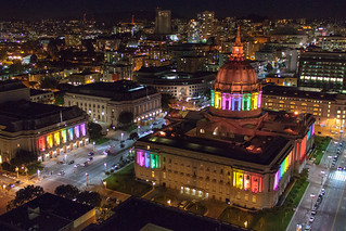 San Francisco City Hall and War Memorial Opera House lit up for SF Pride | by Gavin St. Ours
