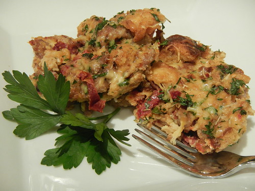 Savory Bread Pudding with Spicy Sausage, Gouda, and Sun-Dried Tomato | by Victoria Rothacker