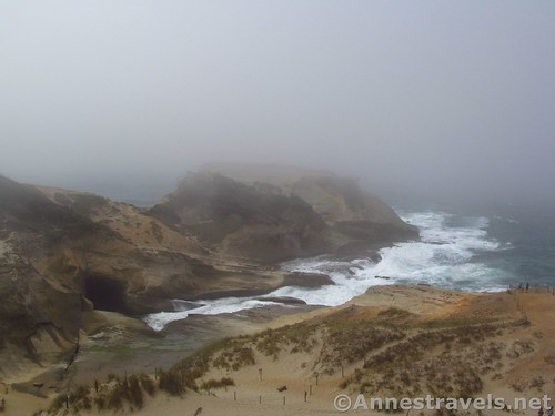 Looking down on the cove from part way up the dune at Cape Kiwanda, Oregon