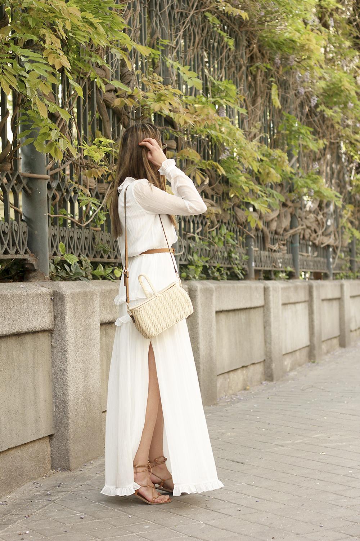 white maxi dress Subtle golden stripes wicker bag sandals céline sunnies spring outfit 01