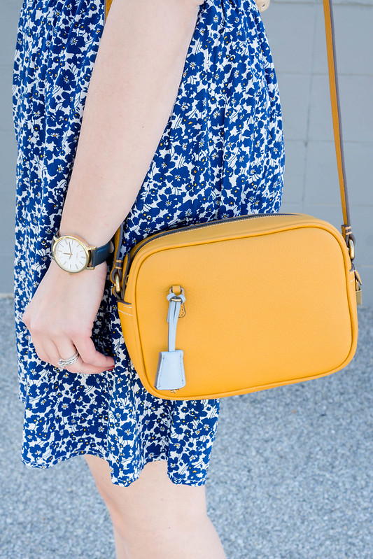 blue and white floral dress + yellow J.Crew crossbody purse + light blue suede heeled sandals Target; spring work outfit | Style On Target blog