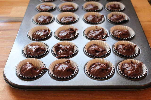 Mini Devil's Food Cupcakes with Mocha Frosting