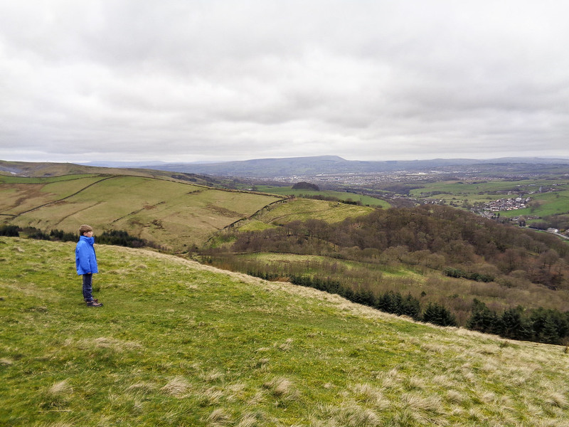 Luke enjoying the view - Pendle Hill visible in the background