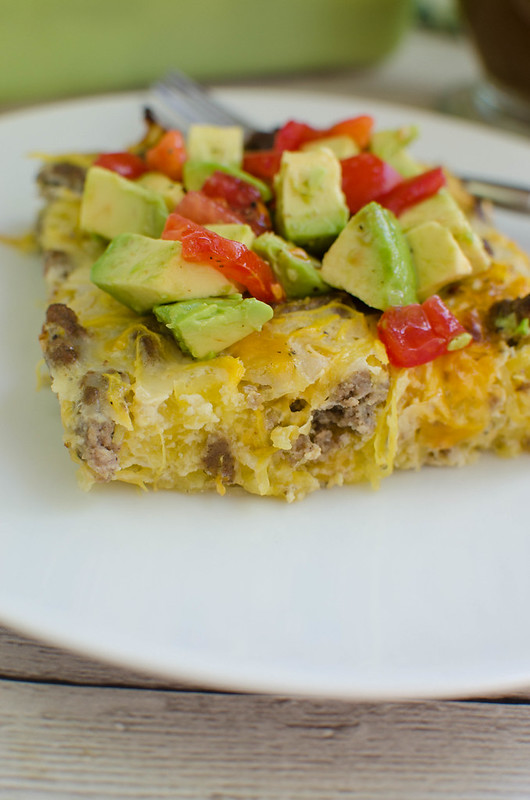 Spaghetti Squash Breakfast Bake - low carb breakfast idea! Spaghetti squash, sausage, eggs, and cheese baked together for the perfect healthy meal prep breakfast!