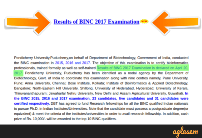 BINC 2017 Result   Check Here