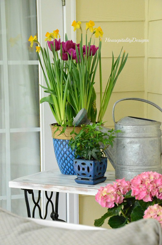 Spring Flower container garden-Spring Porch-Housepitality Designs