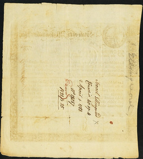 Massachusetts 6% Treasury Loan Certificate back