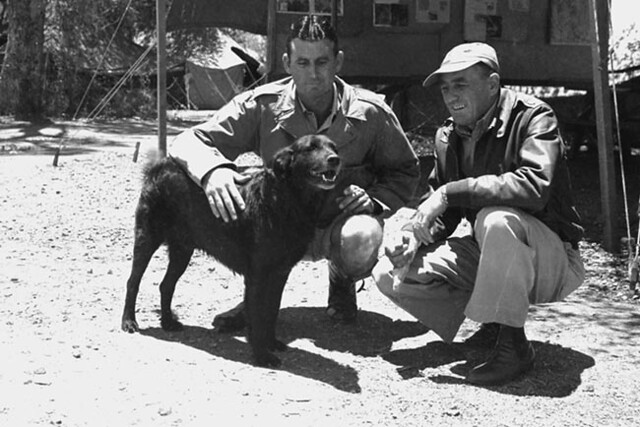 Col. Davies and Pappy Gunn with a dog