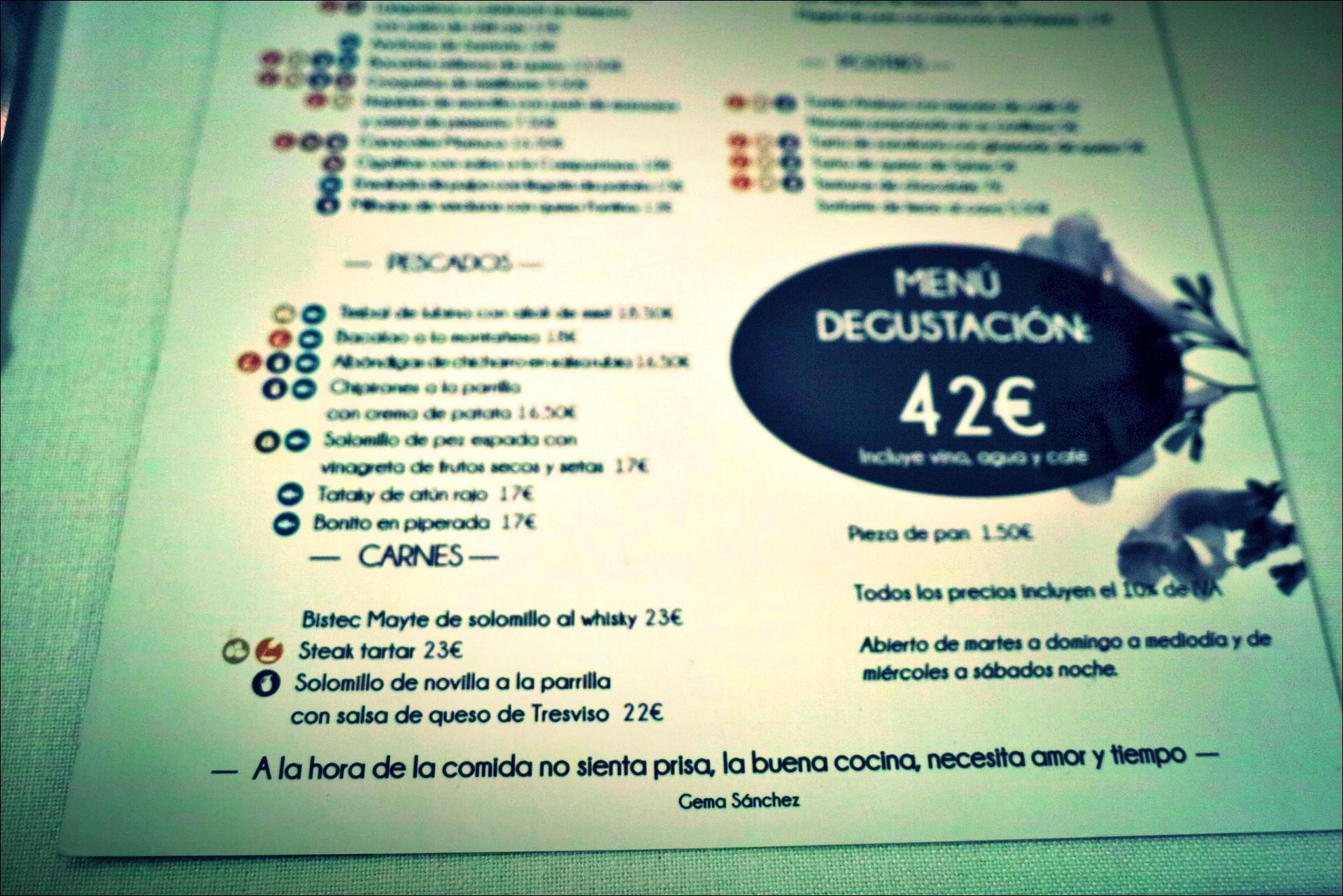 메뉴-'자카란다 레스토랑, 산탄데르(Restaurante Jacaranda, Santander)'