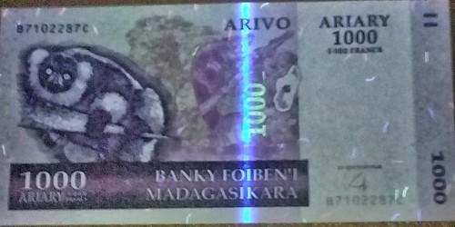 UV image Madagascar banknote