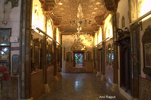 Gold plated ceiling, floor and pillars , Aaina Mahal ,Bhuj
