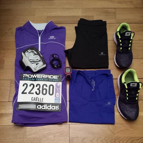 préparation de mes affaires pour le semi-marathon