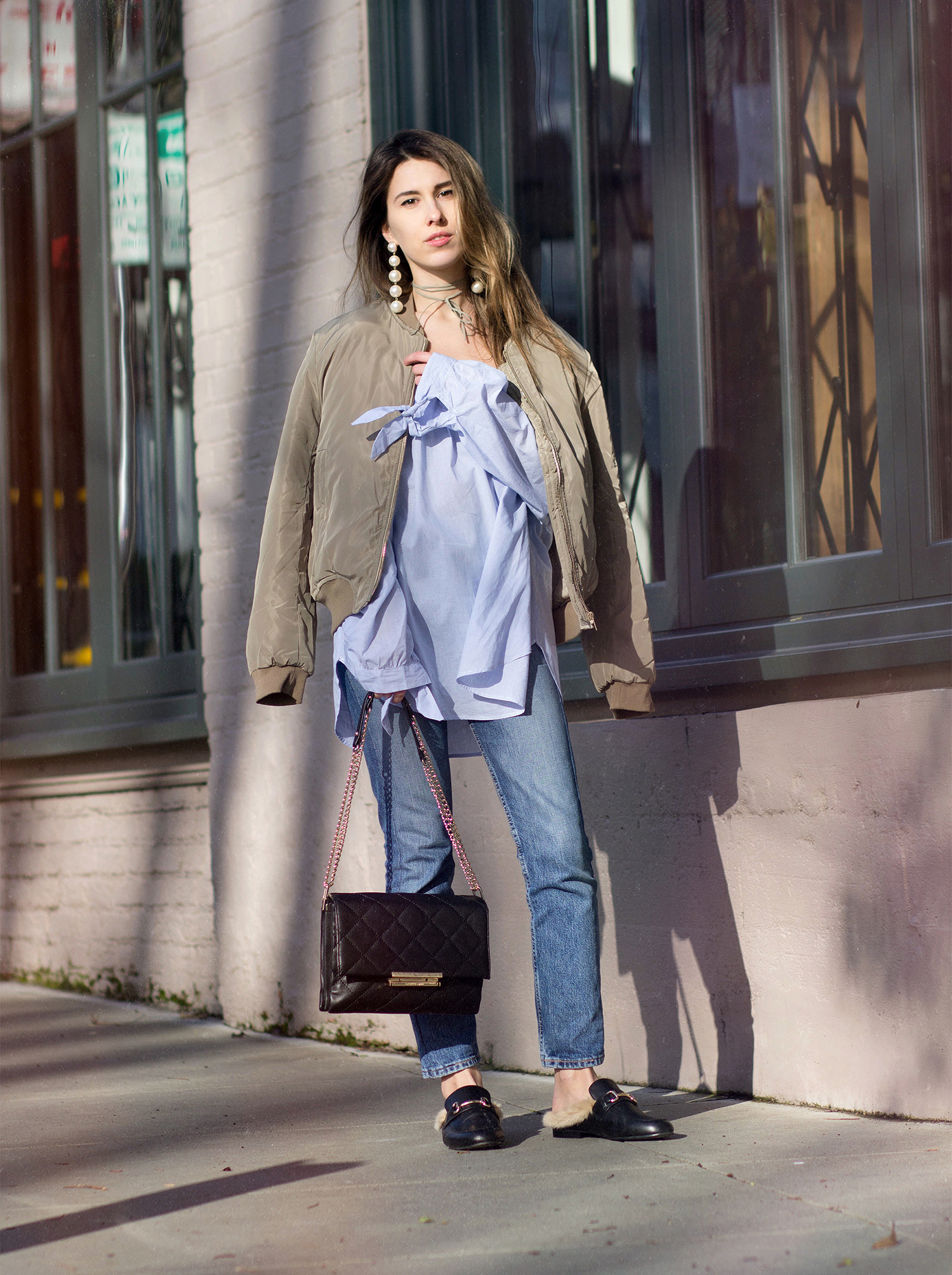 off the shoulder and bomber jacket