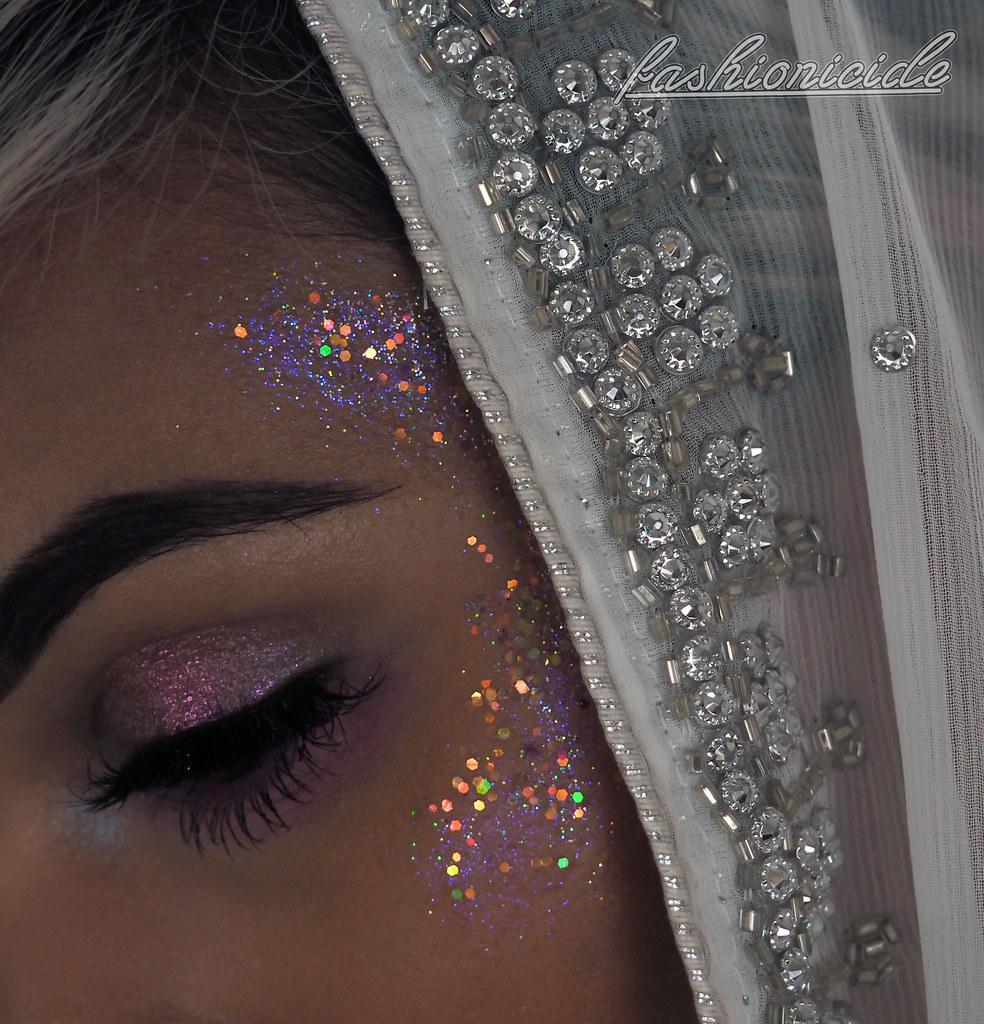 Holographic Glitter Highlight Makeup Iridescent Dark Skin