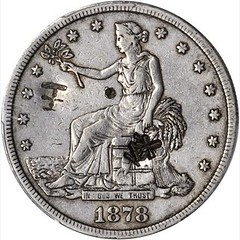Chopmarked 1878-CC Trade Dollar obverse