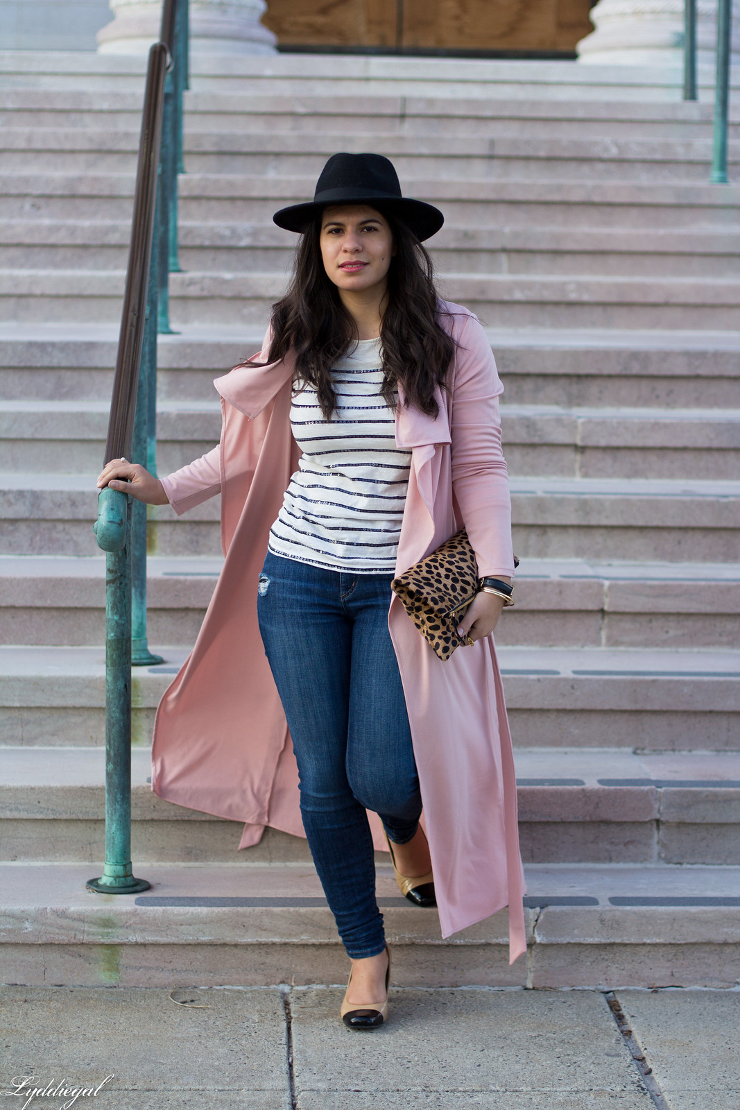 blush draped trench coat, striped tee, leopard clutch-2.jpg