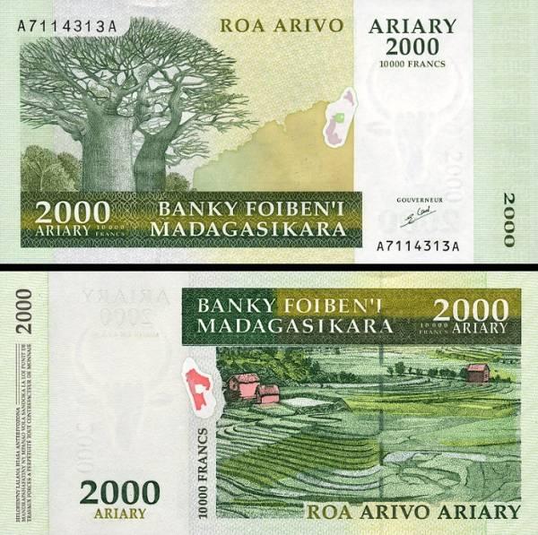 2000 Ariary = 10 000 Francs Madagaskar 2003 P83